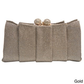 J. Furmani Women's Weaved Metallic Pleated Clutch