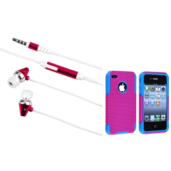 BasAcc Blue/ Pink Hybrid Case/ Hot Pink Headset for Apple iPhone 4/ 4S