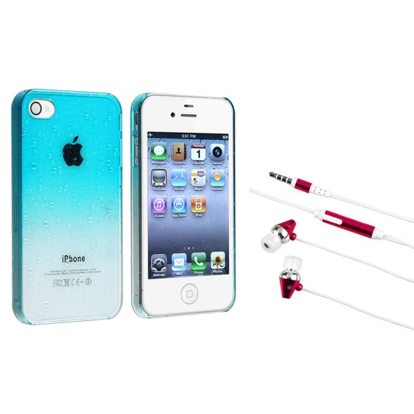 BasAcc Blue Waterdrop Case/ Hot Pink Headset for Apple iPhone 4/ 4S