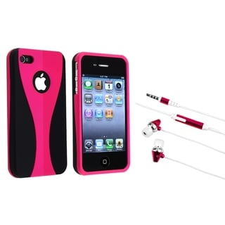 BasAcc Pink/ Black Case/ Hot Pink Headset for Apple iPhone 4/ 4S