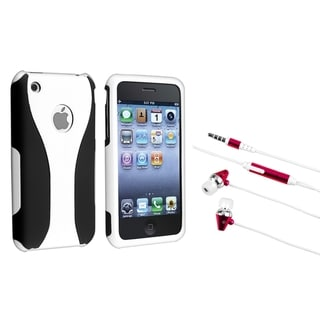 BasAcc White/ Black Case/ Hot Pink Headset for Apple iPhone 4/ 4S