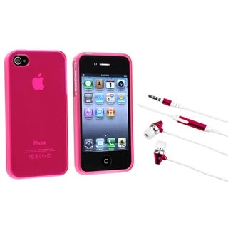 BasAcc Frost Hot Pink Case/ Hot Pink Headset for Apple iPhone 4/ 4S