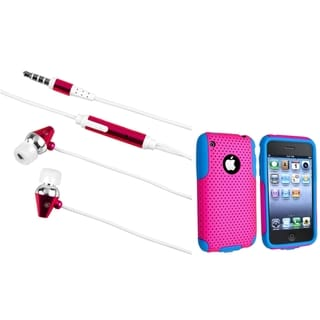 BasAcc Blue/ Hot Pink Hybrid Case/ Headset for Apple iPhone 4/ 4S