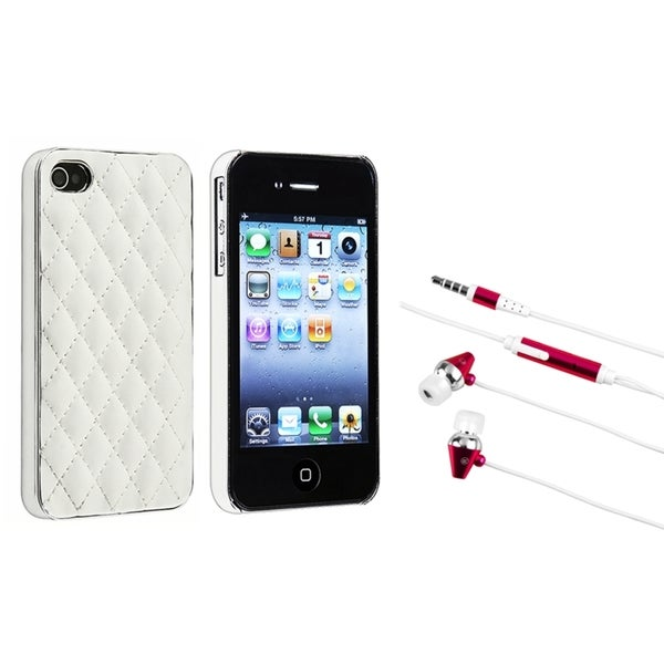 BasAcc White/ Silver Case/ Hot Pink Headset for Apple iPhone 4/ 4S