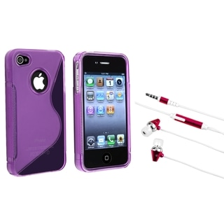 BasAcc Clear Purple TPU Case/ Hot Pink Headset for Apple iPhone 4/ 4S