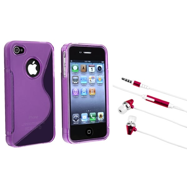 INSTEN Clear Purple TPU Phone Case Cover/ Hot Pink Headset for Apple iPhone 4/ 4S