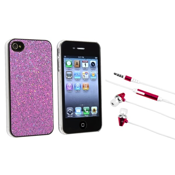 INSTEN Purple Bling Phone Case Cover/ Hot Pink Headset for Apple iPhone 4/ 4S