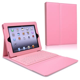 BasAcc Pink Stand Leather Case with Bluetooth Keyboard for Apple iPad 2