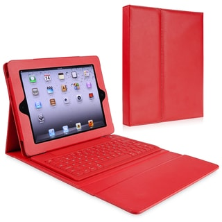 BasAcc Red Stand Leather Case with Bluetooth Keyboard for Apple iPad 2