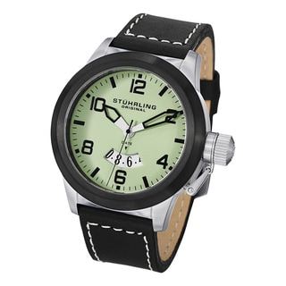 Stuhrling Original Men's Pilot Quartz Leather Strap Watch