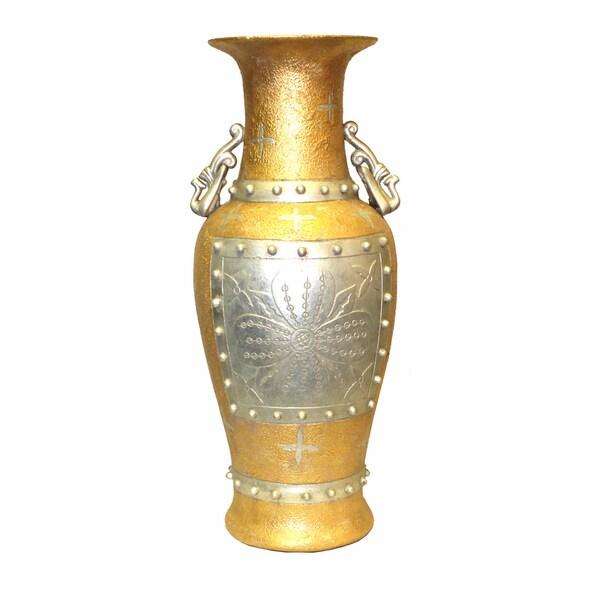 International Caravan Gold/ Silver Antique 21-Inch Porcelain Vase