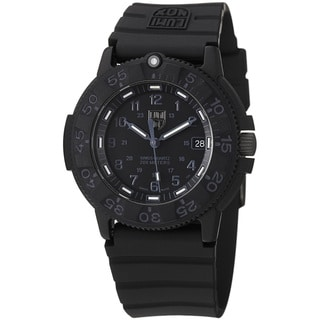 Luminox Men's A.3001.BO 'Original' Black Dial Black Rubber Strap Quartz Watch