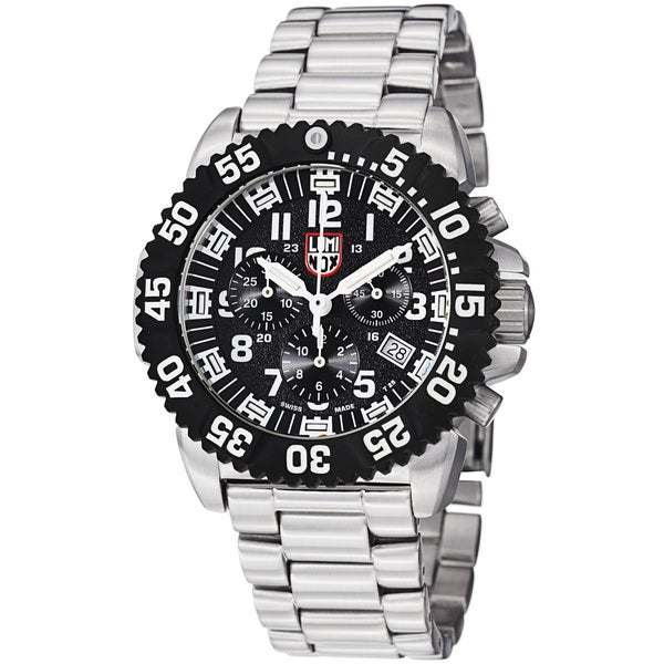 Luminox Men's A.3182 'Colormark' Black Dial Chronograph Stainless Steel Watch