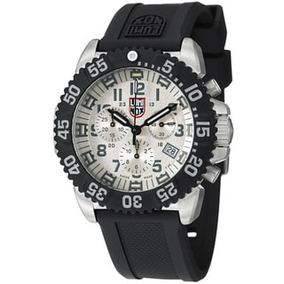 Luminox Men's 'Colormark' Silver Dial Rubber Strap Chronograph Watch