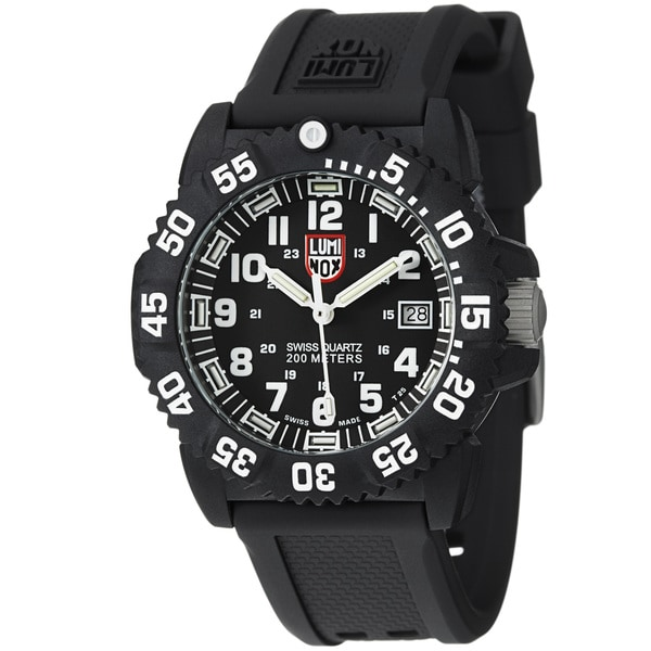 Luminox Men's A.7051 'Colormark' Black Dial Rubber Strap Quartz Watch