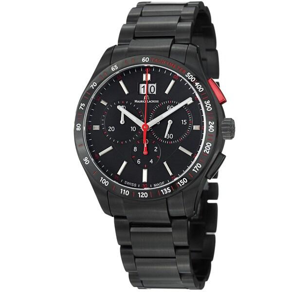 Maurice Lacroix Men's MI1028-SS002-330 'Miros' Black Dial Black Stainless Steel Watch
