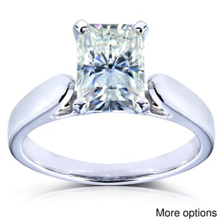 14k White Gold Prong-set Moissanite Solitaire Ring