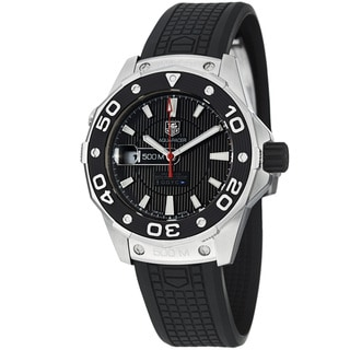 Tag Heuer Men's 'Aquaracer 500' Black Dial Black Rubber Strap Watch