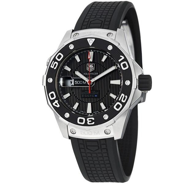 Tag Heuer Men's 'Aquaracer 500' Black Dial Black Rubber Strap Watch