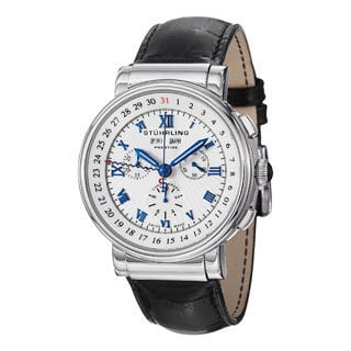 Stuhrling Prestige Men's Sparta Swiss Quartz Leather Strap Watch