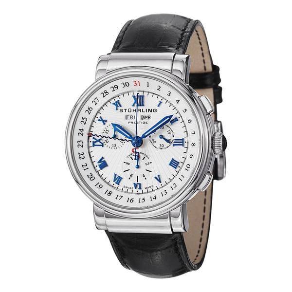 Stuhrling Prestige Men's Sparta Swiss Quartz Leather Strap Watch