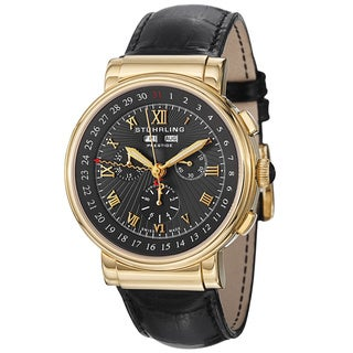 Stuhrling Prestige Men's Sparta Gold-Tone Bezel Swiss Quartz Leather-Strap Watch