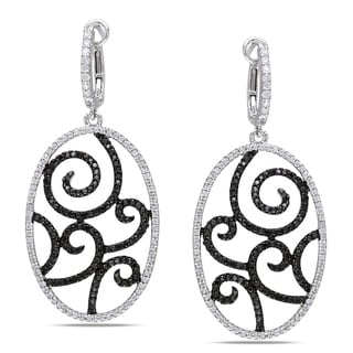 Miadora 14k White Gold 1 3/8ct TDW Black and White Diamond Earrings (G-H, I1-I2)