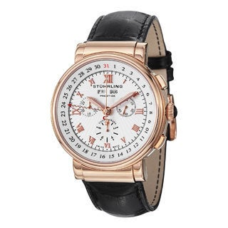 Stuhrling Prestige Men's Sparta Rose-Tone-Bezel Swiss Quartz Leather-Strap Watch