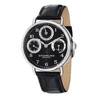 Stuhrling Original Men's Coronate Black-Dial Leather-Strap Mechanical Watch