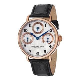 Stuhrling Original Men's Coronate Rose-Tone Leather-Strap Mechanical Watch