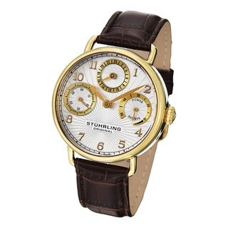 Stuhrling Original Men's Coronate Gold-Tone Leather-Strap Mechanical Watch