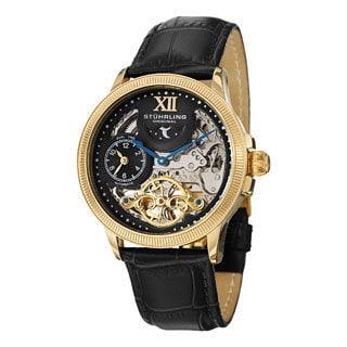 Stuhrling Original Men's DT Bridge Goldtone Automatic Leather Strap Watch