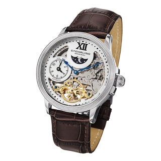Stuhrling Original Men's DT Bridge Silvertone Automatic Leather Strap Watch