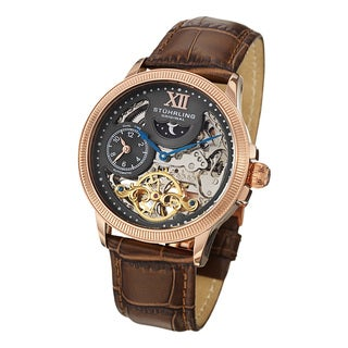 Stuhrling Original Men's DT Bridge Automatic Leather Strap Watch