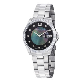 Stuhrling Original Women's Lady Clipper Pearl Quartz Stainless Steel Bracelet Watch with Calendar