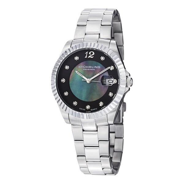 Stuhrling Original Women's Lady Clipper Pearl Quartz Stainless Steel Bracelet Watch with Calendar