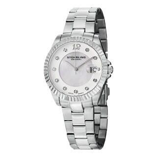 Stuhrling Original Women's Lady Clipper Pearl Quartz Stainless Steel Bracelet Watch