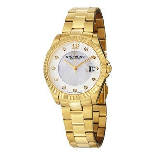 Stuhrling Original Women's Lady Clipper Pearl Quartz Stainless-Steel Bracelet Water-Resistant Watch
