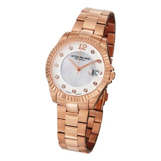 Stuhrling Original Women's Lady Clipper Pearl Quartz Rosetone Stainless-Steel Bracelet Watch with Calendar
