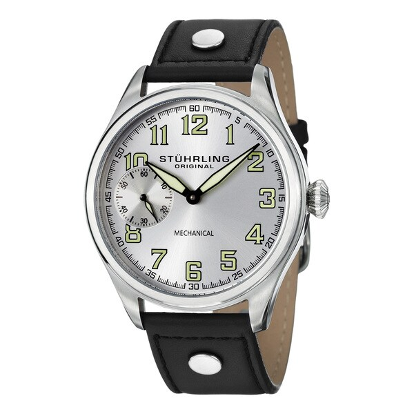 Stuhrling Original Men's Legacy Sport Mechanical Black-Leather-Strap Watch