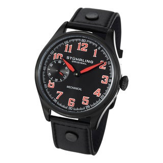 Stuhrling Original Men's Legacy Sport Mechanical Black-Dial Leather-Strap Watch