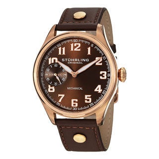 Stuhrling Original Men's Legacy Sport Mechanical Brown-Leather-Strap Watch