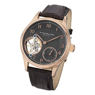 Stuhrling Original Men's Cuvette Mechanical Leather Strap Watch