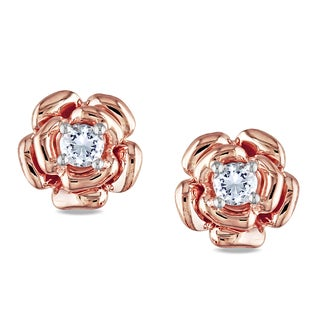 Miadora Rose Plated Silver Created White Sapphire Flower Earrings