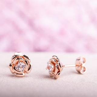 Miadora Rose Plated Silver Created White Sapphire Flower Stud Earrings