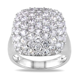 Miadora Sterling Silver White Sapphire Bridal Ring