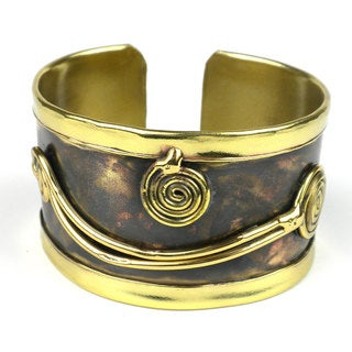 Handcrafted Swirl Brass Cuff (South Africa)