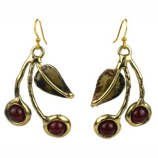 Handcrafted Carnelian Cherry Brass Earrings (South Africa)