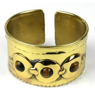 Handcrafted Bonbon Gold Tiger Eye Brass Cuff (South Africa)