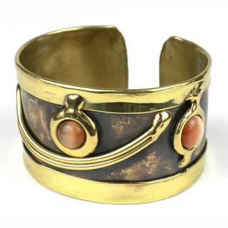 Handcrafted Peach Tiger Eye Swirl Brass Cuff (South Africa)